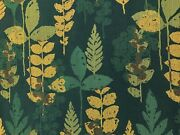 Water And Stain Resistant Navy Blue Teal Brown Botanical Leaves Upholstery Fabric