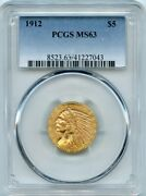 1912 5 Five Dollar Indian Head Gold Coin Pcgs Ms 63