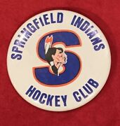 Vintage 1960's Springfield Indians Ahl Hockey Team Pin Pinback Button Early Nhl