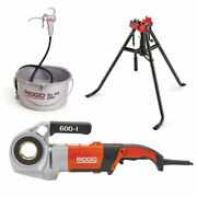 Ridgid 44918 600-i Power Drive Kit W/ 16703 Tristand Vise And 10883 Oiler