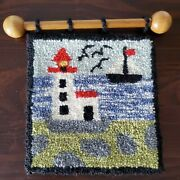 Lighthouse Decor Hooked Wall Hanging Wool Picture Flora's Cheticamp Small