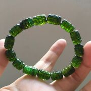 128mm Top Natural Green Tourmaline Crystal Carving Beads Bracelet Aaaa