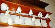 Antique Salvage Tea Cup And Saucer Rack With Plate Rail Pine  2812a
