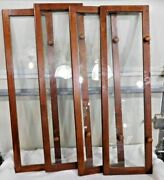 Antique Salvage 4 Pine Doors With Glass For Stacking Bookcases 1867