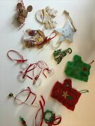 Homemade Christmas Ornament Lot Unique Nativity Mouse Star Tree Wreath Reindeer