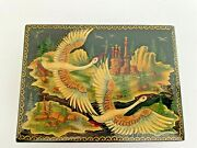Russian Hand Painted Black Lacquer Flying Swans Village Box Hinged Signed