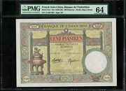 P51d French Indochina 100 Piastres 1936-1939 Unc Pmg 64 No Pinhole