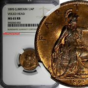Great Britain Victoria 1895 Farthing Ngc Ms65 Rb Top Graded By Ngc Km 788.1 2