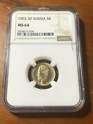 1903 Ms-64 Gold Coin 5 Roubles Graded Ngc Rubles Russian Imperial Antique Russia