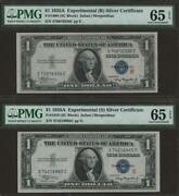 1935 A 1 Experimental R And S Silver Certificates Two Notes Pmg 65 Epq