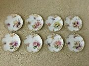 8 - Nymphenburg Reticulated Exceptional Artist Painted Flower Plates - C1895