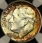 Rainbow Toned Ngc Ms67 1960 D Roosevelt Dime 10c Great Color Looks Fb Pq