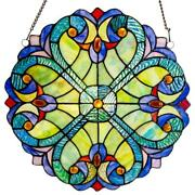 Window Panel Stained Glass Hanging 21 Inch Sun Catcher Art Decorative Hand Cut