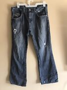 Guess Rancho Fit Relaxed Boot Cut Jeans Mens Size 36x32 Pocket Flaps Distressed