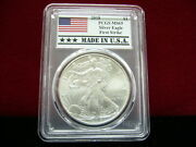 2018 Silver Eagle Pcgs Ms-69 First Strike Made In U.s.a. Flag Label