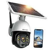 Outdoor Security Camera Solar Powered Battery Wifi Camera Wirefree Black