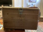 Vintage Hemp And Co. Little Brown Chest Antique Metal Cooler Ice Box Retro