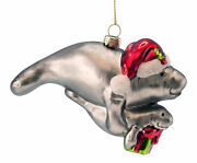 Beachcombers Santa Hat Mother And Baby Manatee Bearing Gifts Blown Ornament