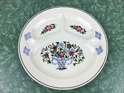 Vintage Divided Grill Plate Germany 3 Sections Floral Design Viking Boat Stamp