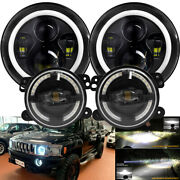 4pcs 7inch Led Halo Ring Headlight + 4and039and039 Fog Light Kit For Hummer H2 H3 06-10