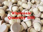 500- Unfinished Wooden Wine Stoppers Real Cork Diy Stopper Wedding Party Favor