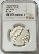 1988 Silver Usa Olympics 1/2 Oz Medal By Salvador Dali Diving Ngc Mint State 69