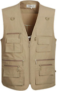 Gihuo Menand039s Summer Outdoor Work Safari Fishing Travel Vest With Pockets X-large