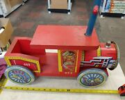 Vintage, Wood And Metal Tin Ride On Train 553, 60's 70's Rare. F10
