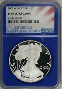 2005-w Proof American Silver Eagle. Ngc Blue Core Pf69 Ultra Cameo. Et3267/jcr