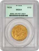 1926 10 Indian Head Eagle Gold Pcgs Ms64 Generation 3.1 Old Green Holder Ogh 1