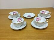 Noritake China 5285 Rosetta Footed Cups And Saucers 4 Sets - Excellent