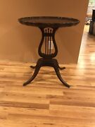 Antique Large Pie Top Claw Foot Harp Table Early Ethan Allen Mersman