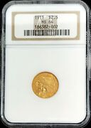 1911 Gold United States 2.5 Dollar Indian Head Quarter Eagle Ngc Mint State 64