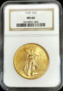1928 Gold United States 20 Saint Gaudens Double Eagle Coin Ngc Mint State 66 Pq