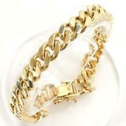 18k Yellow Gold Bracelet About20cm Curb Chain 2sides Free Shipping Used