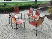 Mid Century Vintage Six Wrought Iron And Leather Side /dining Chairs