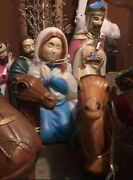 Complete Outdoor Nativity Set 15 Pieces Lighted Set - Rare Great Condition