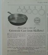 1922 Have You A Row Of Griswold Cast Iron Skillets Hanging Vintage Cookware Ad