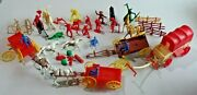 Vintage 1950's Lot Of Plastic Cowboys Indians Wagons And Horses Ajax Mpc Tim Mee