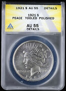 1921 1 High Relief Silver Peace Dollar Anacs Au 55 Details