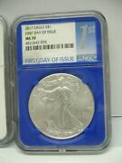 2017 Silver Eagles Ngc Ms-70 First Day Of Issue Blue Core No Spots