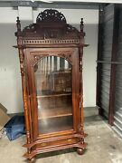 Antique Large Glass Wear Cabinet Brown Good Condition