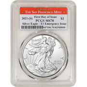 2021 S American Silver Eagle Pcgs Ms70 First Day Issue Sf Emergency Issue