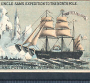 Uncle Sam Expedition To North Pole 1800's Arctic Ship Mrs Potts Iron Trade Card