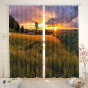 Open And Clean Artificial Lawn Printing 3d Blockout Curtains Fabric Window