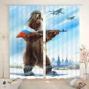 Hardy And Kind Brown Bear Warrior Printing 3d Blockout Curtains Fabric Window