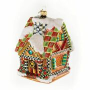 New Mackenzie Childs Super Sweet Gingerbread House Glass Ornament And Gift Box