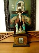 Antique Standing Crucifix Cross W Angels And Scroll Stations Of The Cross 25