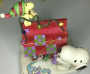 Jim Shore - Peanuts Prepping For Santa Snoopy Decorating With Woodstock