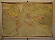 Old Schulwandkarte World Map Earth Amazing From Germany 113 13/16x78 5/16in